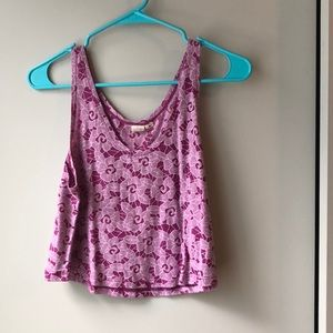 Purple Flower Crop Top